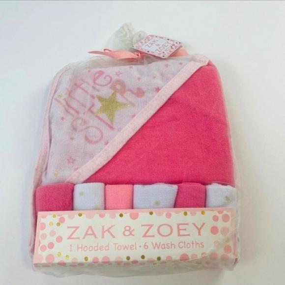 3/$15! NWT Baby Girl Pink Bath Towel Set